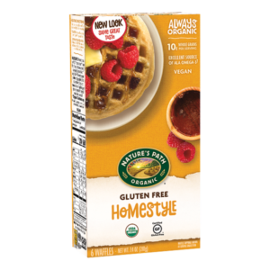 Nature's Path Gluten-Free Waffles Reviews and Info - all dairy-free and vegan. Pictured: Homestyle