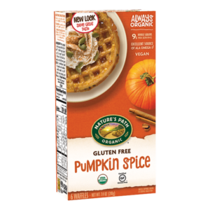 Nature's Path Gluten-Free Waffles Reviews and Info - all dairy-free and vegan. Pictured: Pumpkin Spice
