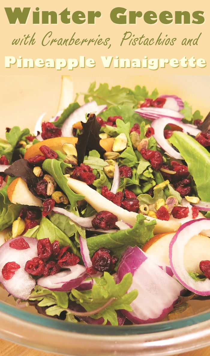 Winter Green Salad Recipe with Kale, Baby Greens, Cranberries, Pistachios, and a Pineapple Vinaigrette (naturally dairy-free, gluten-free, vegan, and paleo)