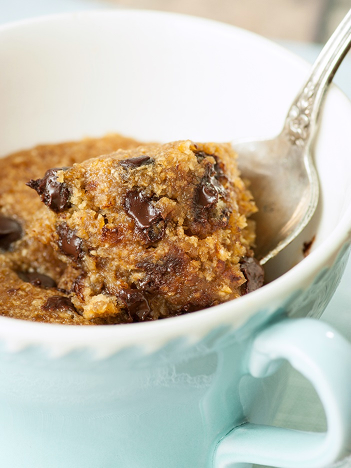 21 Days of Delicious, Nutritious Recipes for the 21-Day Dairy Free Challenge with So Delicious! Pictured: 3 Minute Chocolate Chip Cookie in a Mug Recipe - Healthier than most, plus dairy-free, gluten-free and vegan, with a grain-free option!