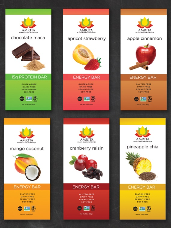 Amrita Energy Bars - Gluten-Free, Nut-Free, Dairy-Free and Rich in Plant-Based Nutrition (Vegan)