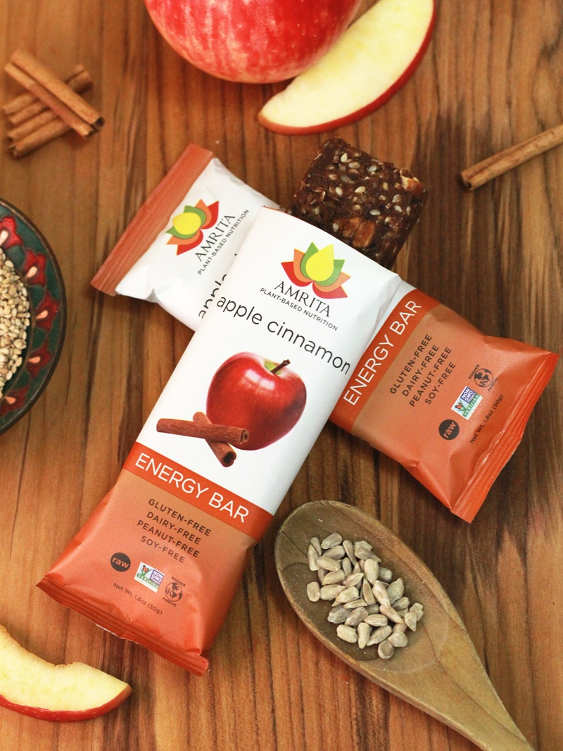 Amrita Energy Bars (Apple Cinnamon Pictured) - Dairy-Free, Gluten-Free, Nut-Free, Soy-Free, and Vegan