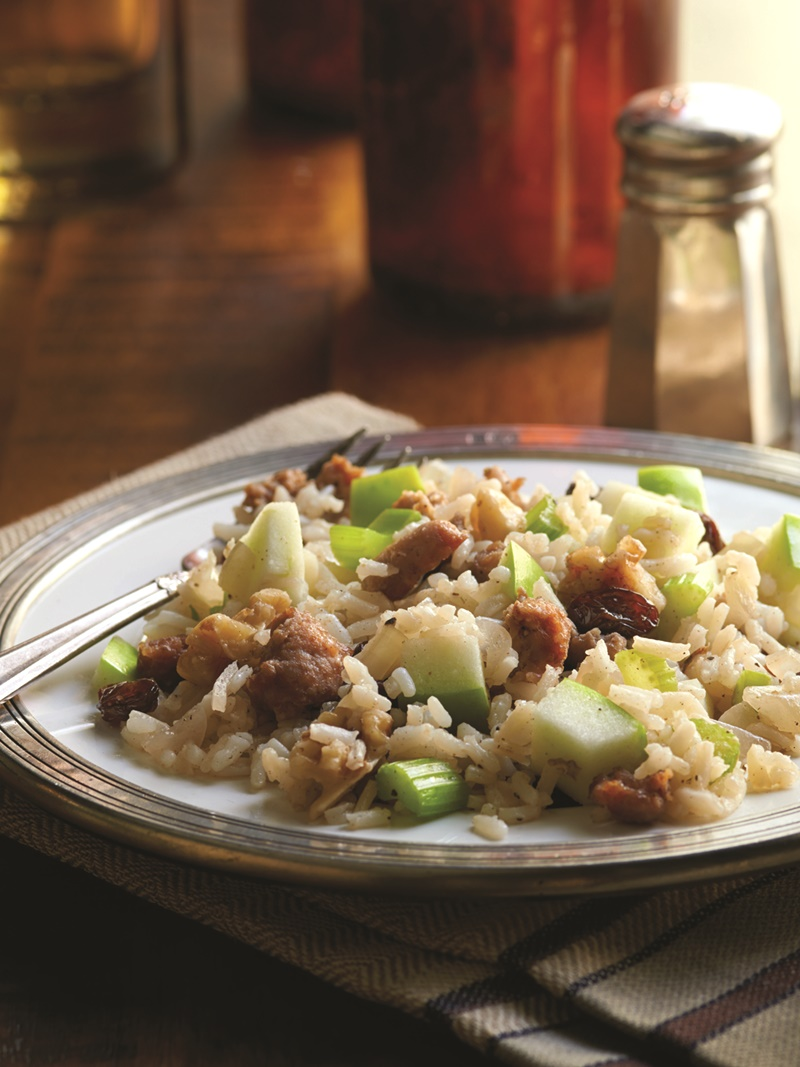 Walnut, Apple and Sausage Dressing Recipe - a speedy holiday side that's naturally dairy-free and gluten-free.