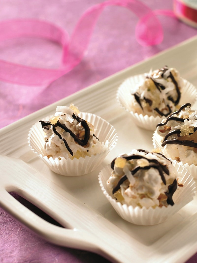 Coconut Ginger Popcorn Truffles with Chocolate Drizzle - dairy-free, gluten-free, optionally vegan and divine!