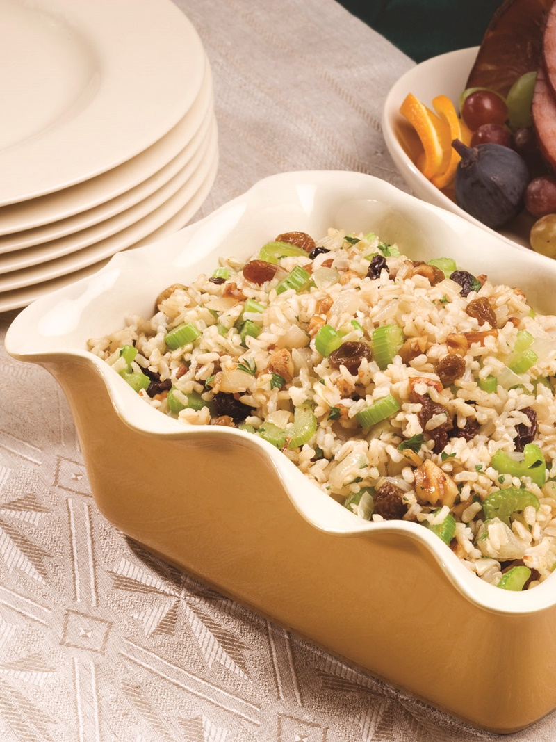 Honey Nut Rice Dressing - sweet and savory flavors commingle in this easy, classic, holiday side dish. Dairy-free, gluten-free, optionally vegan.