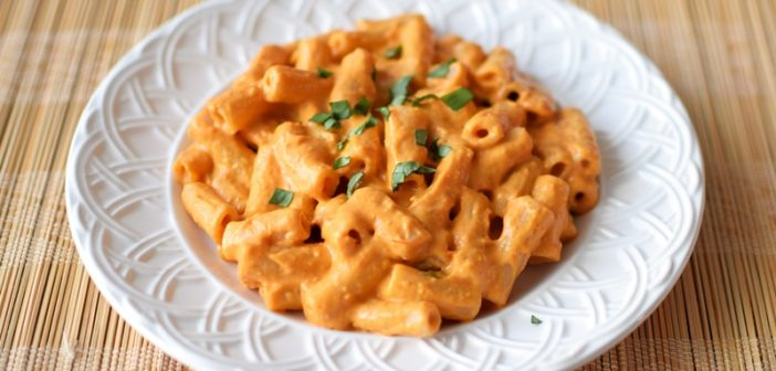 Creamy Roasted Tomato Vodka Sauce with Penne - dairy-free and made w/ flavorful whole food ingredients (vegan, gluten-free, optionally paleo)