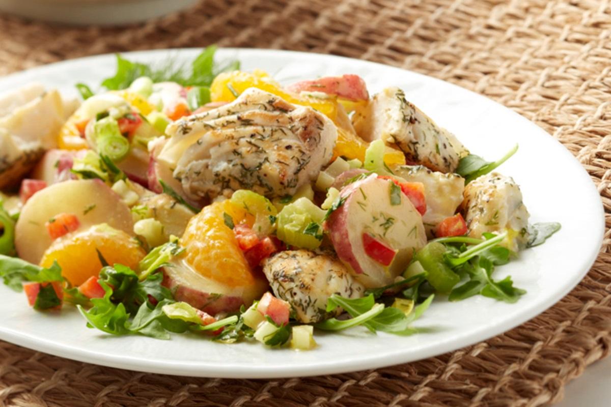 Warm Potato Salad with Halibut and Arugula Recipe