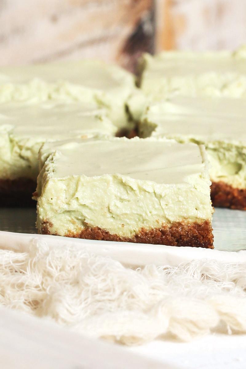 Key Lime Cheesecake Bars - Dairy-Free, optionally Vegan and Gluten-Free