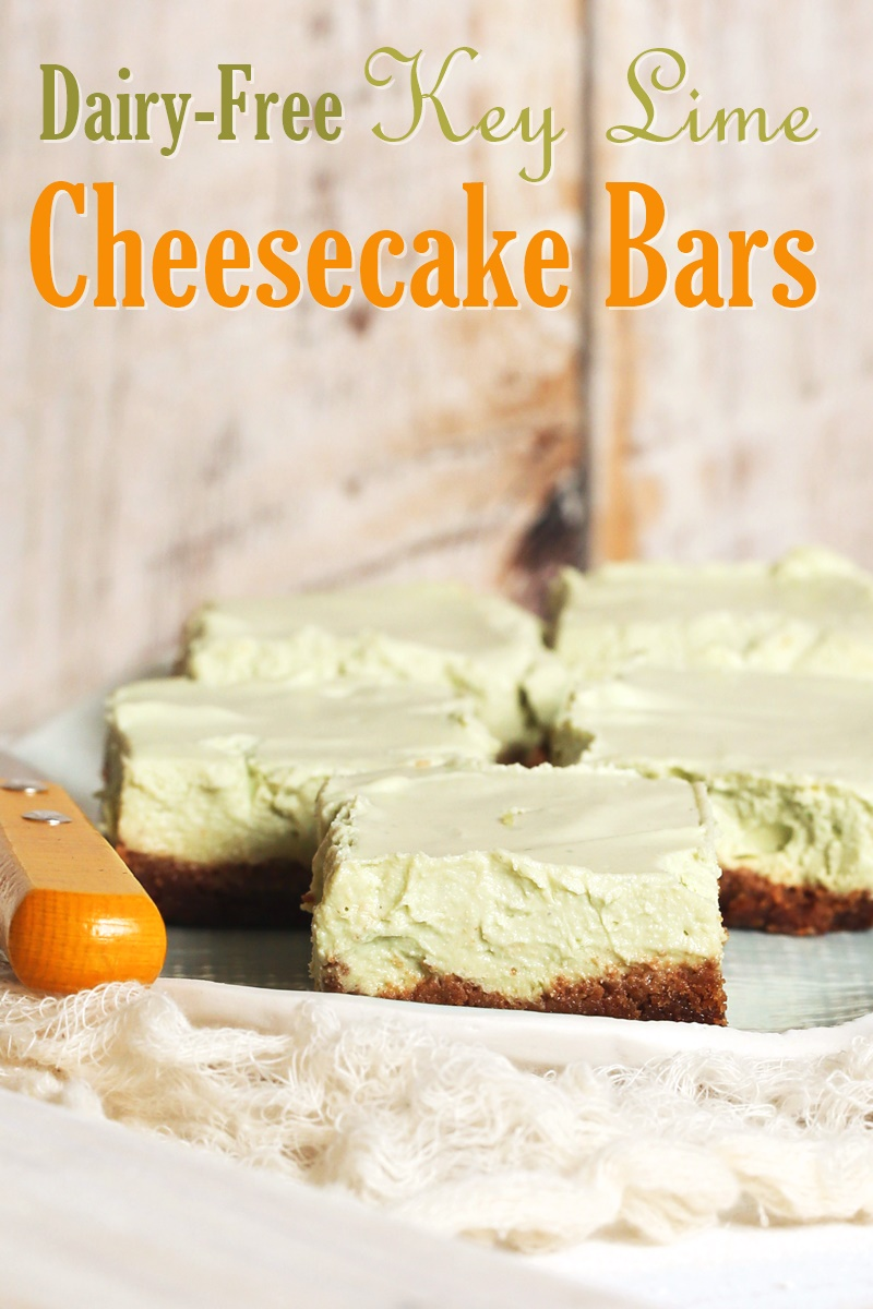 Key Lime Cheesecake Bars - Dairy-Free, optionally Vegan and Gluten-Free