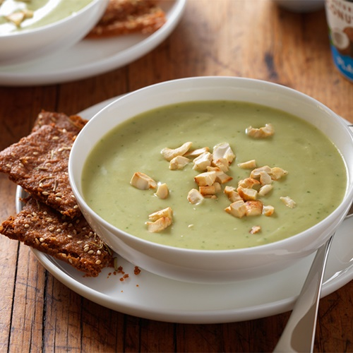 100+ Creamy Dairy-Free Recipes and Foods (pictured - Roasted Garlic Avocado Soup With Herbed Yogurt Crackers)