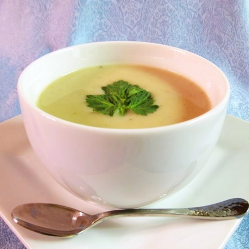100+ Rich and Creamy Dairy-Free Recipes and Foods (pictured - Cream of Celery Root Soup)