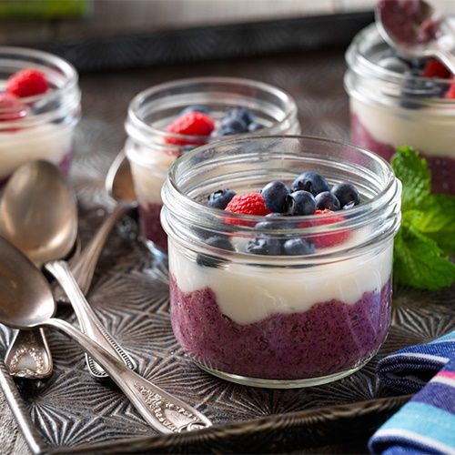 100+ Rich and Creamy Dairy-Free Recipes and Foods (pictured - Forest Berry Yogurt Chia Parfaits)