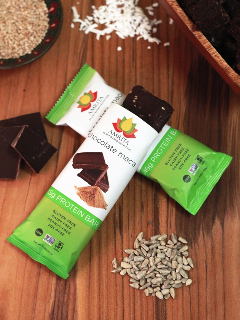 Amrita Energy Bars - Chocolate Maca Protein (Plant-Based and Free of Nuts, Dairy, Gluten and Soy)