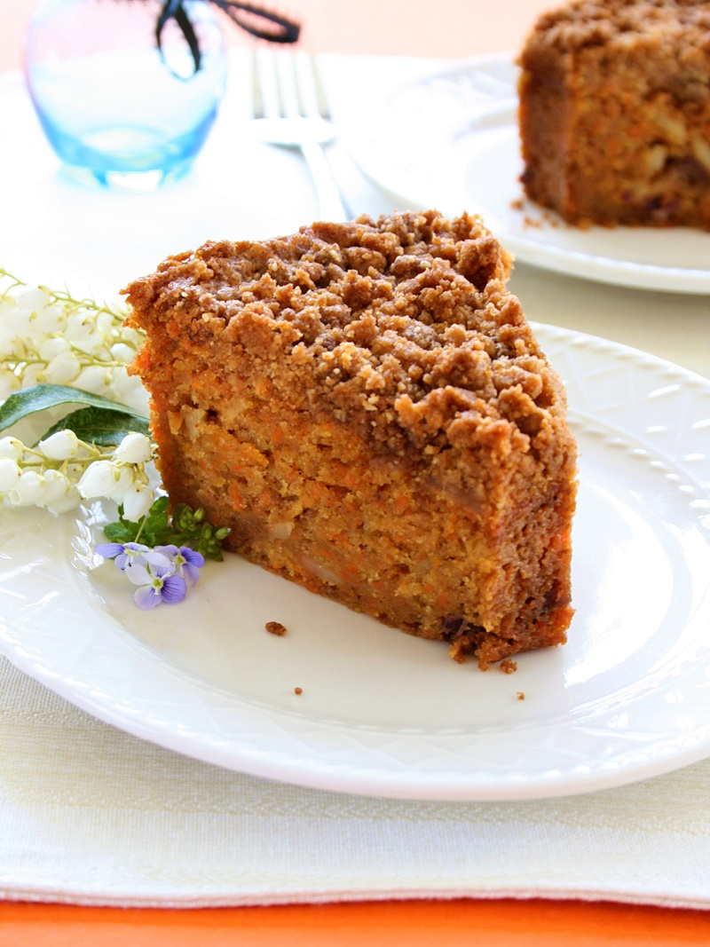 Impress and delight with this moist, sweet and tender Carrot Crumb Cake Recipe. It is naturally dairy-free, soy-free, and vegan!