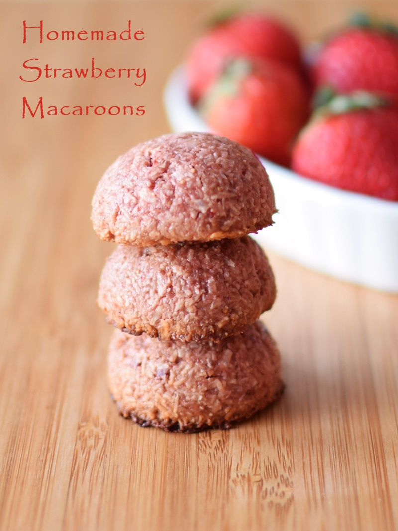 21 Days of Delicious, Nutritious Recipes for the 21-Day Dairy Free Challenge with So Delicious! Pictured: Homemade Strawberry Macaroons - Paleo, Vegan, Raw and Chocolate-Covered Variations (almost too good to be true - popular with all!)