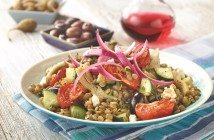 Lentil Salad with Marinated Onions, Roasted Tomatoes and Olives