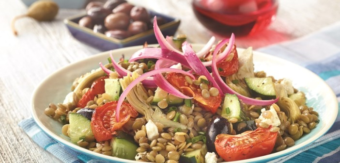 Mediterranean Lentil Salad with Marinated Onions, Roasted Tomatoes and Greek Olives