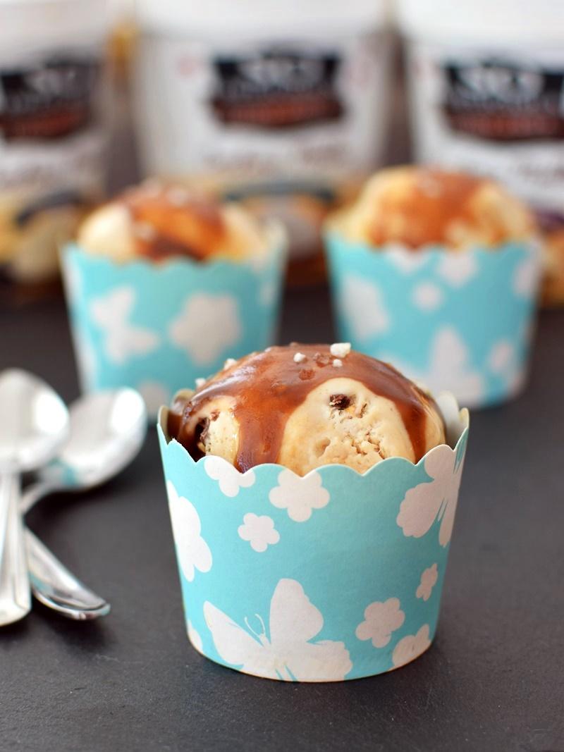 Mini Salted Caramel Cupcake Sundaes - sweet, decadent, pint-size caramel cupcakes topped with ice cream and dairy-free caramel sauce! (vegan, optionally gluten-free)