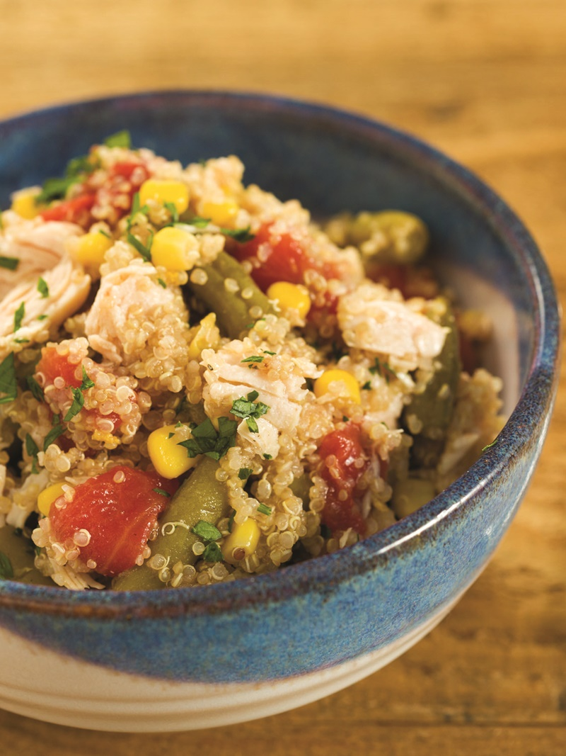 Pantry Chicken and Vegetable Quinoa - this easy dairy-free & gluten-free recipe can by made exclusively from your over-stocked pantry! Includes a super-easy adaption for a vegan / vegetarian meal, too.
