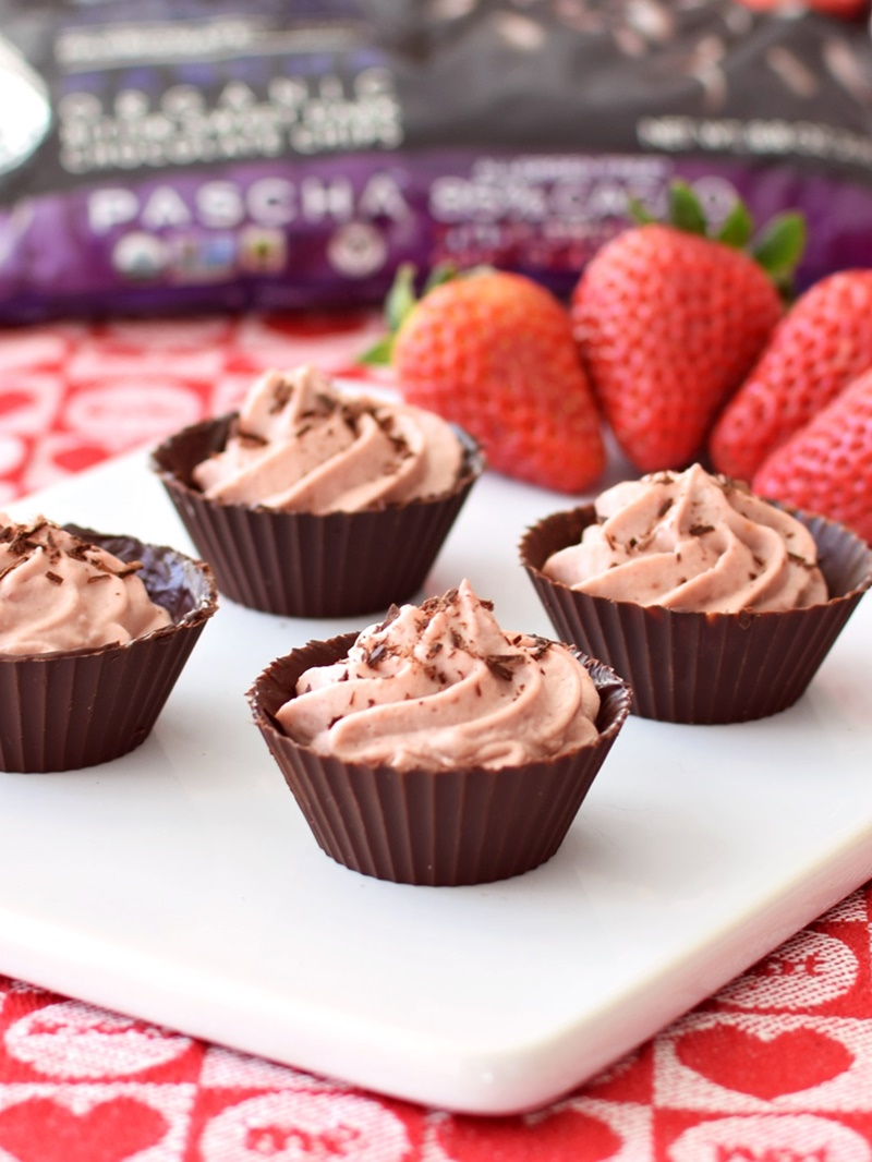 Rich, dreamy Strawberries 'n Cream Chocolate Cups - easy, homemade strawberry-infused vanilla whip piped into dark chocolate cups for a simple but dazzling dessert! (dairy-free, gluten-free, soy-free, vegan, optionally paleo)