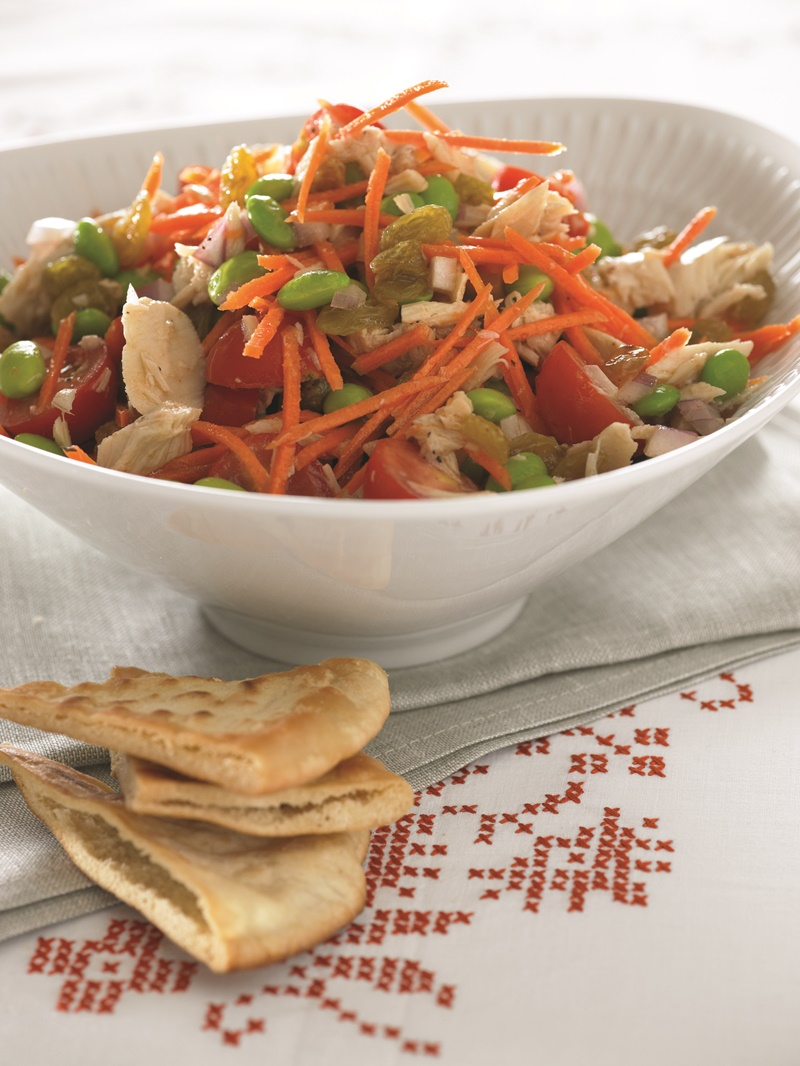 Superfast & Healthy Tuna Edamame Salad Recipe - this beyond easy recipe can be ready in less than 10 minutes! It is served chunky-style with pita, crackers or lettuce. Naturally dairy-free, gluten-free & grain-free.