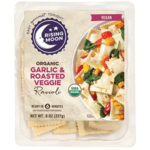 Rising Moon Organics Vegan Ravioli Reviews and Info. Pictured: Garlic and Roasted Veggie