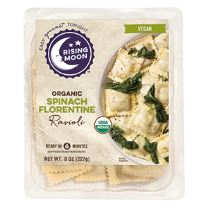 Rising Moon Organics Vegan Ravioli Reviews and Info. Pictured: Spinach Florentine