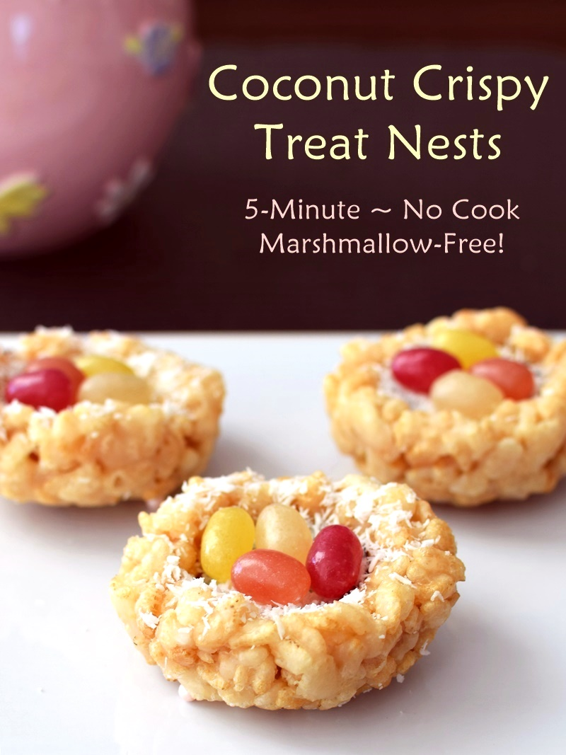 5-Minute Coconut Crispy Treat Nests - No Cook, Naturally Vegan, Marshmallow-Free!