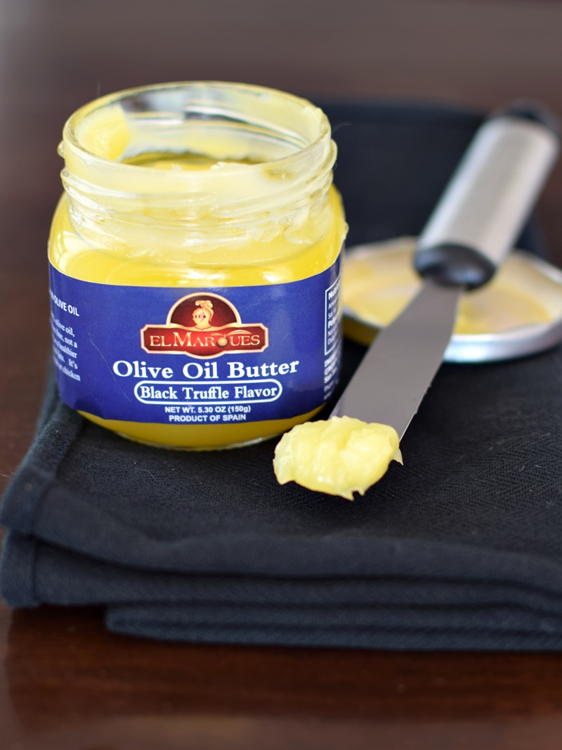 El Marques Olive Oil Butter (Black Truffle Flavor pictured) - Pure olive oil, whipped for stability at room temperature - dairy-free, vegan, paleo, awesome!