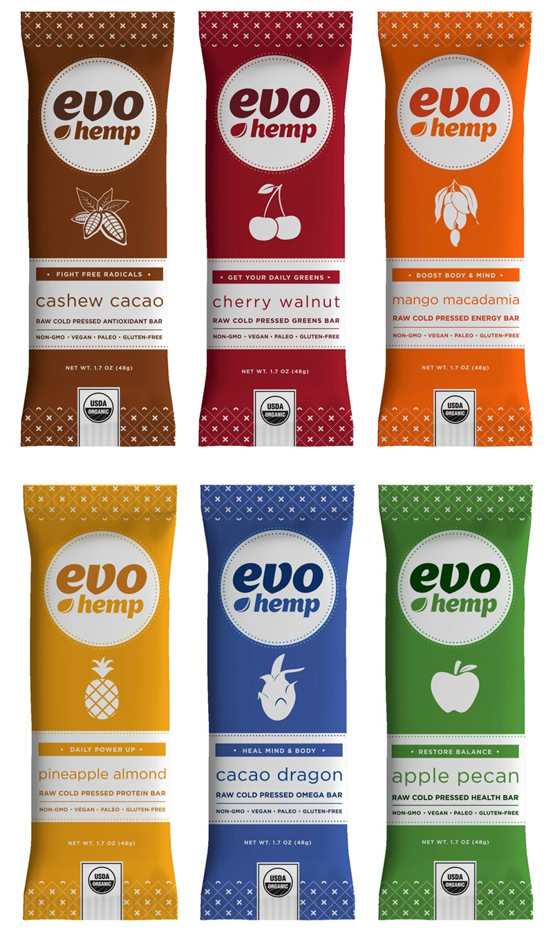 Evo Hemp Raw Cold Pressed Antioxidant Bars (Available in 6 Flavors: all raw, dairy-free, gluten-free, vegan and paleo)