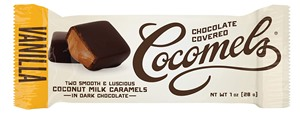 Chocolate-Covered Cocomels Caramels Reviews and Info - Dairy-Free and Vegan Coconut Milk Caramels Enrobed in Chocolate. Pictured: Vanilla