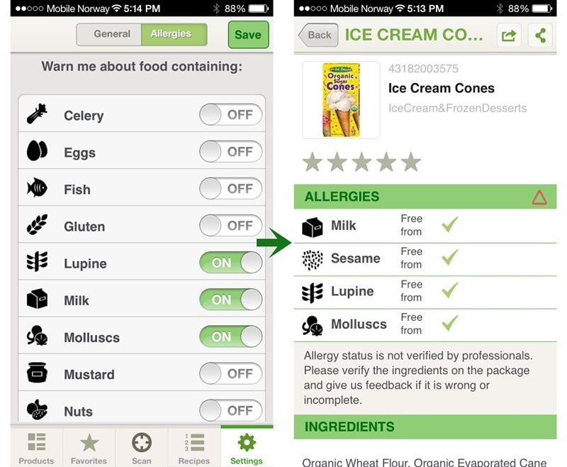 Content Checked App for Food Allergies and Intolerances
