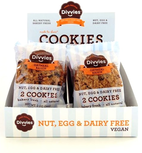 Divvies Bakery Cookies - 2 Soft, Chewy Cookies per package - Nut, Egg and Dairy Free + Vegan