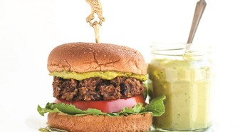 Veggie Black Bean Burgers with Green Tea Basil Aioli - this flavorful recipe is naturally dairy-free, optionally gluten-free and soy-free and a feature from the cookbook Steeped, by Annelies Zijderveld