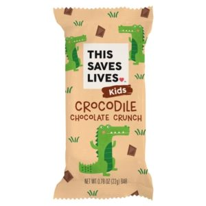 This Saves Lives Krispy Kritter Treats Reviews and Information - company founded by actors Kristen Bell, Todd Grinnell, Ravi Patel, and Ryan Devlin to help fight severe acute malnutrition in children. Pictured: Crocodile Chocolate Crunch