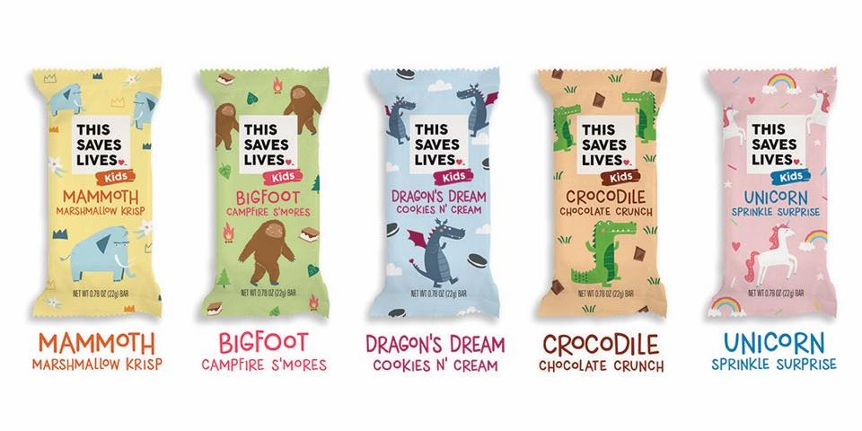 This Saves Lives Krispy Kritter Treats Reviews and Information - company founded by actors Kristen Bell, Todd Grinnell, Ravi Patel, and Ryan Devlin to help fight severe acute malnutrition in children. Pictured: All Flavors