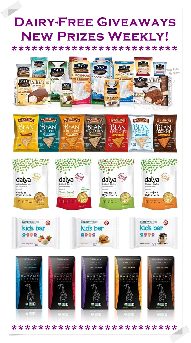 2015 Dairy-Free Giveaways - New Prizes Weekly! Easy Entry; Many Vegan, Gluten-Free and Allergy-Friendly Prizes; Check Back for Regular Updates.