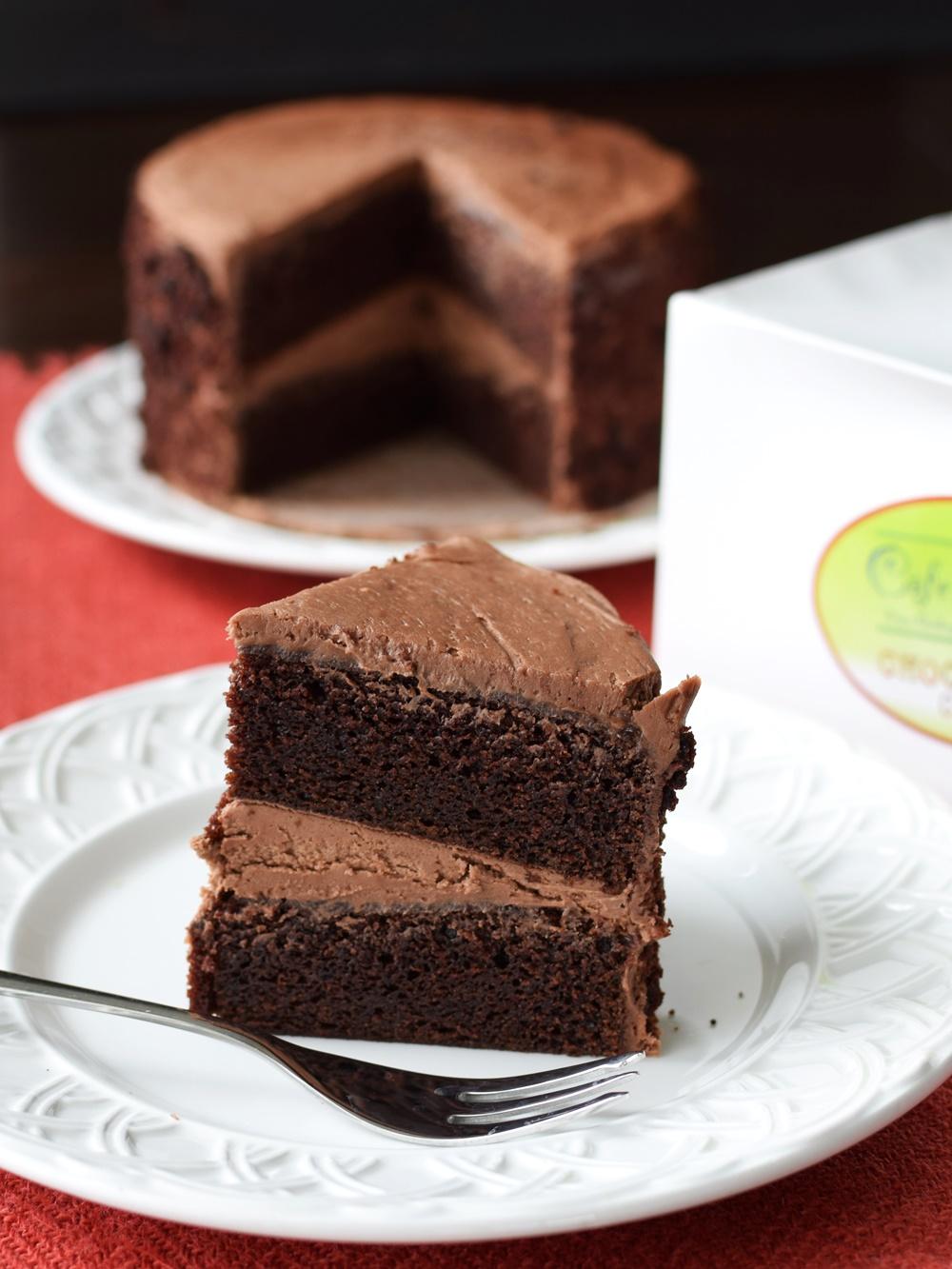 Cafe Indigo Vegan Goodness Layer Cakes - Amazingly dairy-free & egg-free! (chocolate cake pictured)