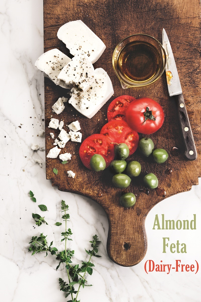 This Dairy-Free Almond Feta Cheese Recipe is naturally cultured for spot on flavor and consistency. Great on Greek salad, in spanakopita, and more! Vegan, soy-free, gluten-free.