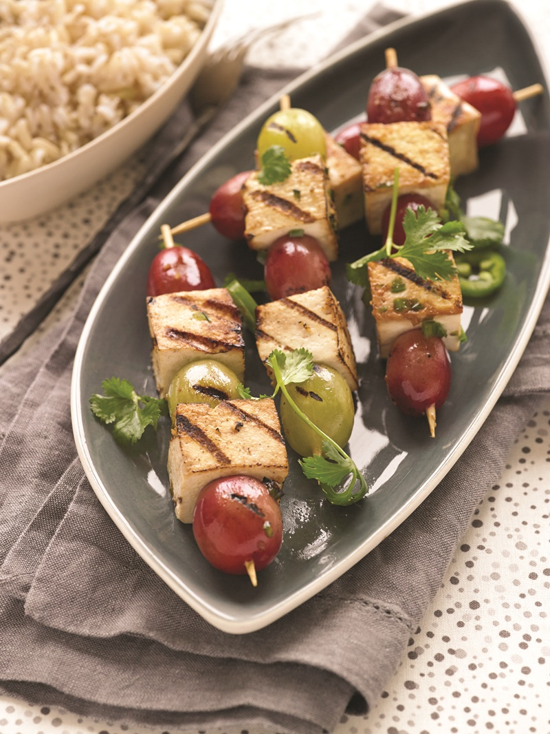 Grilled Asian Tofu and Grape Kebabs Recipe - the grapes offer a pleasant juicy, sweet, burst of flavor that compliments the seasoned tofu. Great 20 minute meal! Vegan, gluten-free, dairy-free.