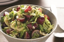 Sweet and Savory Garlic Ginger Brussels Sprouts and Grapes
