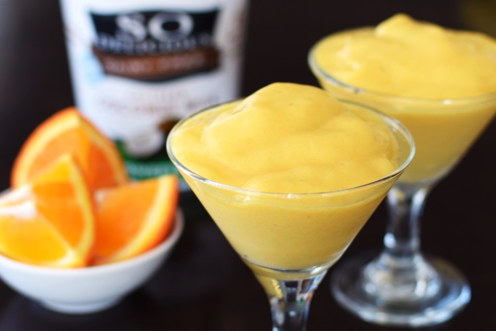 Tangerine Mango Tango Dairy-Free Lassi - This nutritious, cool and creamy delight has omegas, anti-inflammatory ingredients, and an amazing fruit blend! Dairy-free, gluten-free, vegan and top allergen-free.