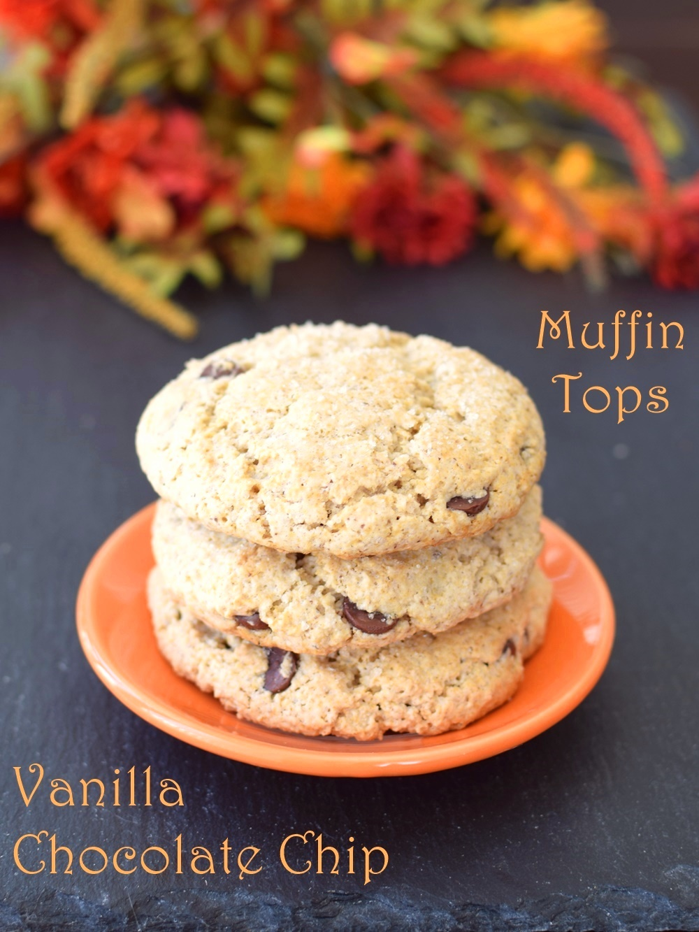 Vanilla Chocolate Chip Muffin Tops!! Crisp on top with a lightly tender middle, and no special pan required! A naturally dairy-free, gluten-free, vegan recipe via GoDairyFree.org / @GoDairyFree