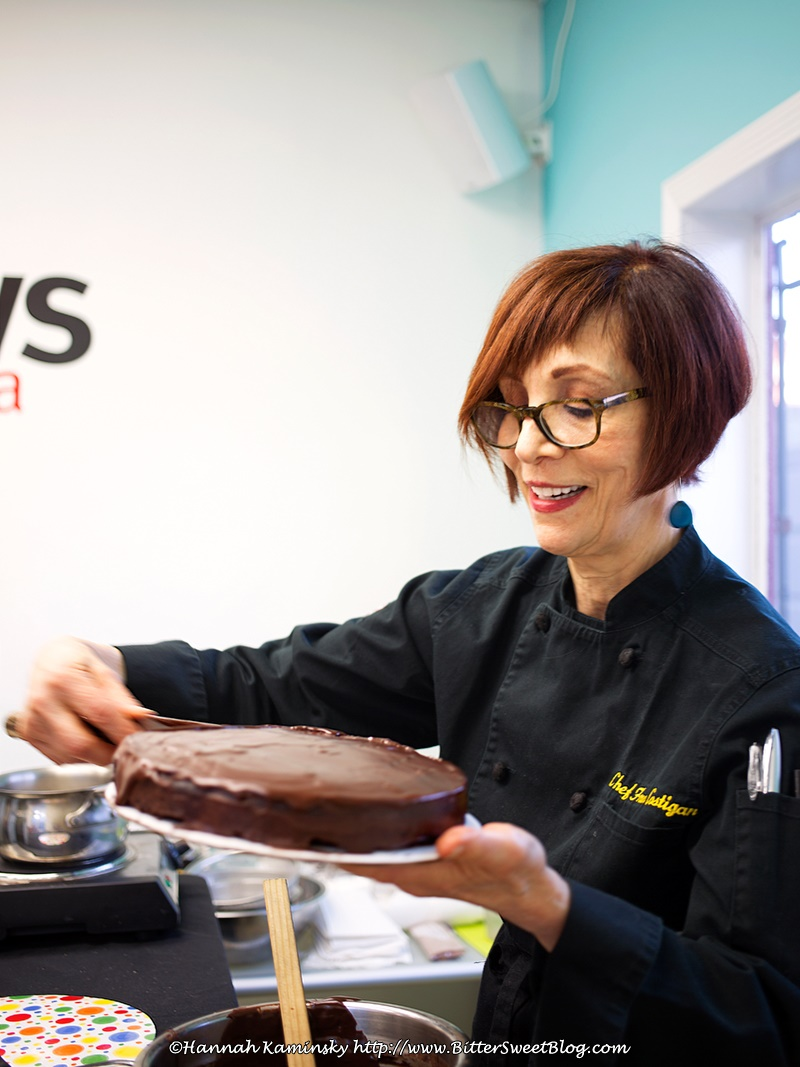 Fran Costigan Frosts Vegan Chocolate Cake with Easy Dairy-Free Chocolate Ganache at the VegNews Relaunch Event
