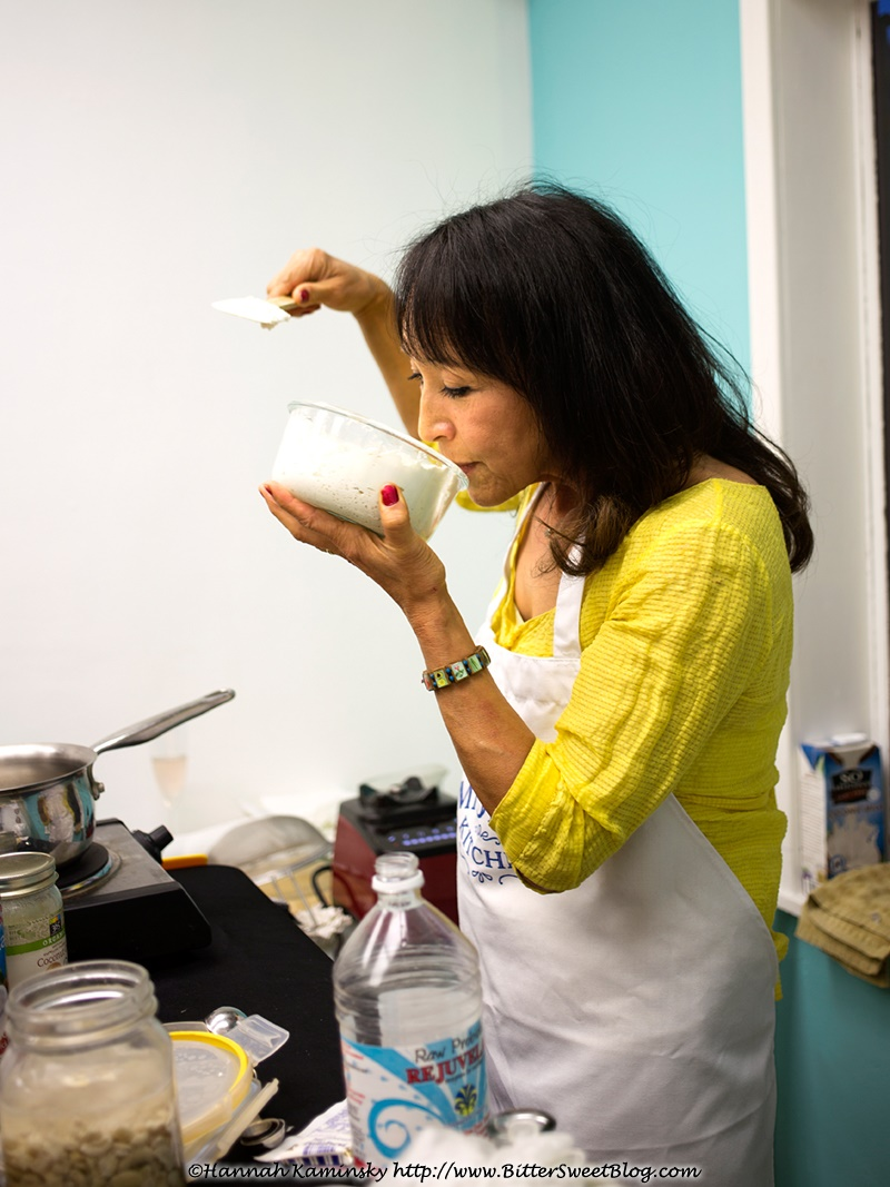 Miyoko Schinner demonstrates the art of making dairy-free feta at the VegNews Relaunch Event
