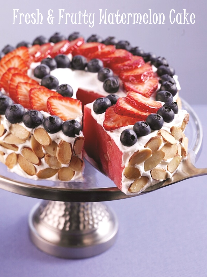 This Fun Watermelon Cake Is Frosted With Dairy Free Yogurt And Decorated Summer Fruit