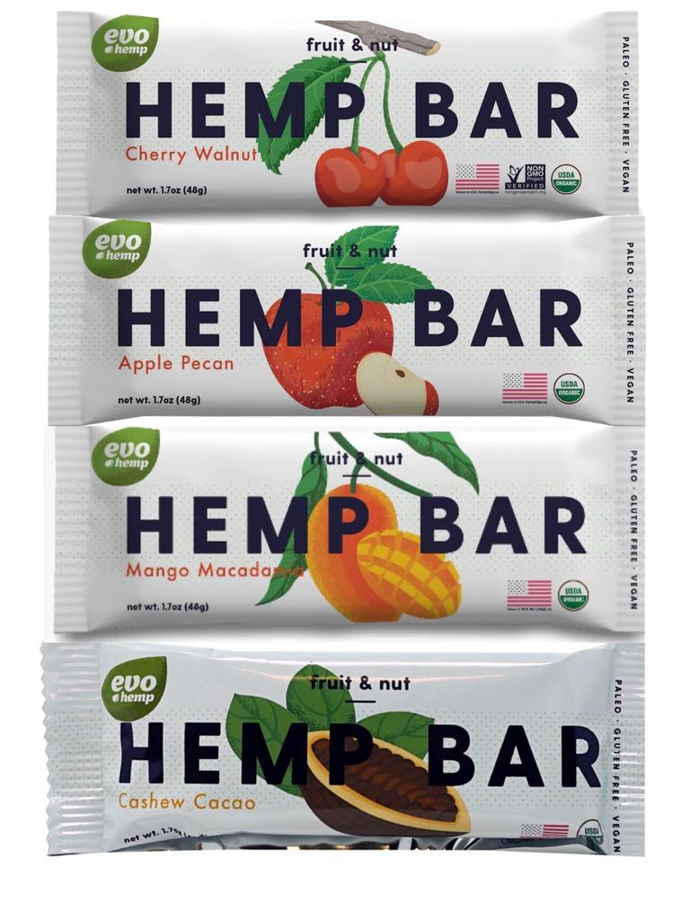Evo Hemp Bars Reviews and Info: Fruit & Nut Varieties (vegan, paleo, grain-free, soy-free, gluten-free, dairy-free - made with hemp seeds and hemp protein powder)