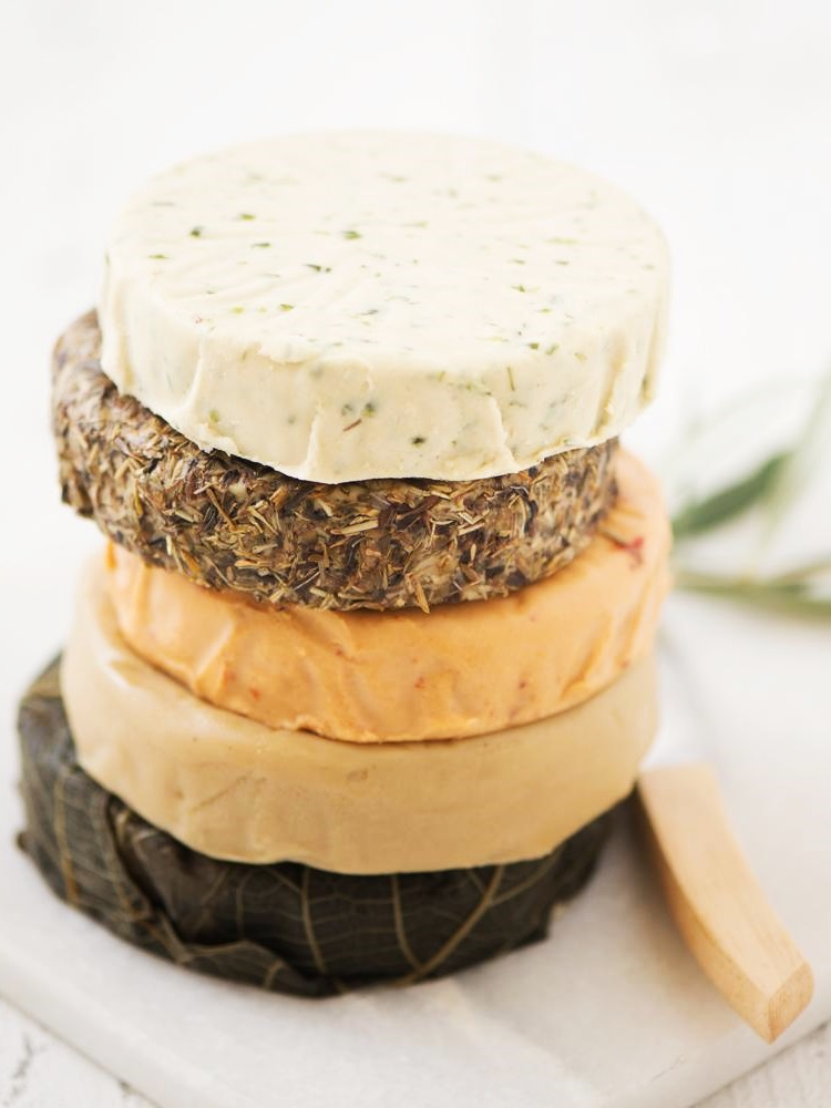 Miyoko's Vegan Cheese Wheels Reviews and Info - several varieties of dairy-free, cultured, organic, paleo cheese alternatives in double cream semi-soft and aged semi-firm