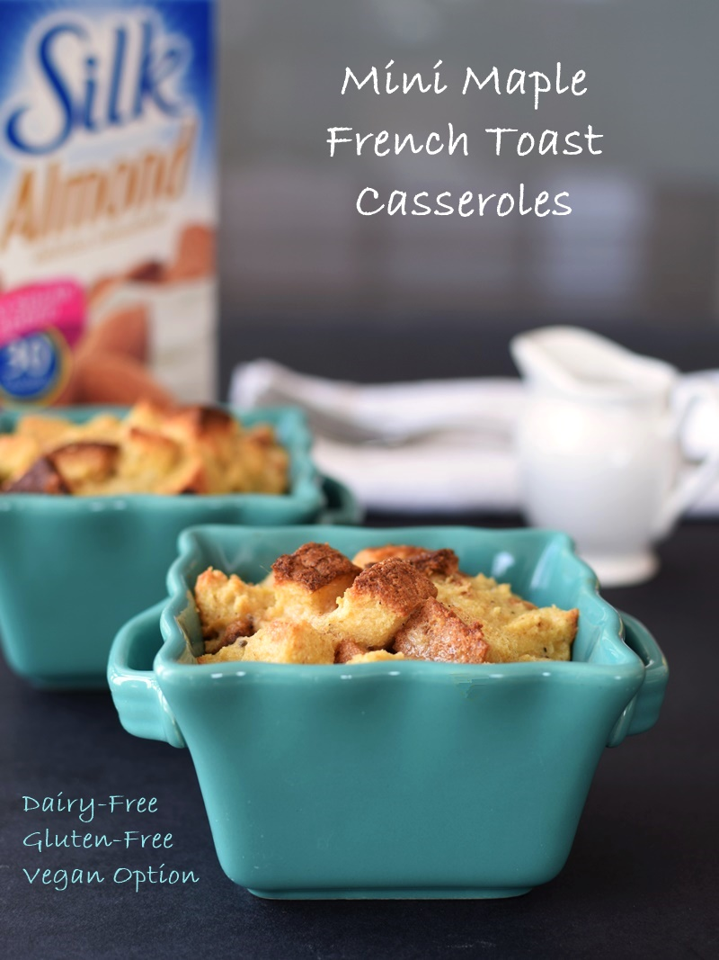 "5-Ingredient Mini Maple French Toast Casseroles - Tested gluten-free, ""just"" dairy-free, and vegan (a few more ingredients!) - all versions are scrumptious and so easy! @lovemysilk #ad"