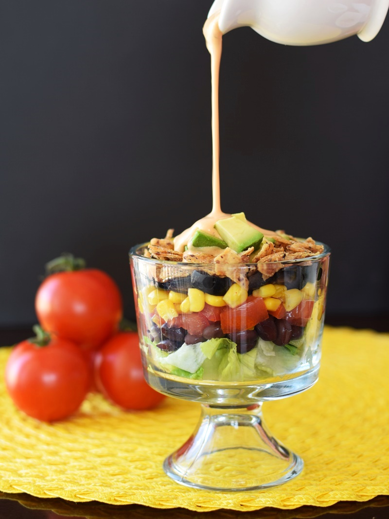 Vegan 7 Layer Salad with Creamy Chipotle Dressing - healthy, indulgent and oh-so pretty! Naturally gluten-free and top allergen-free recipe.